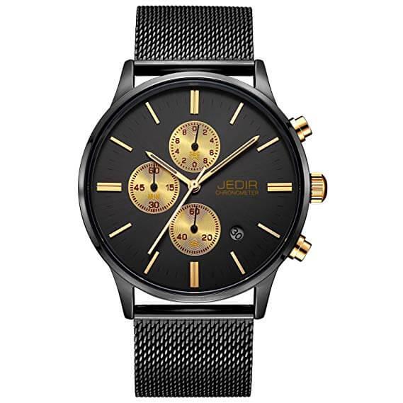 JEDIR Herren Uhren Chronograph Uhr Analog Quarzuhr klassisches Einfaches Design