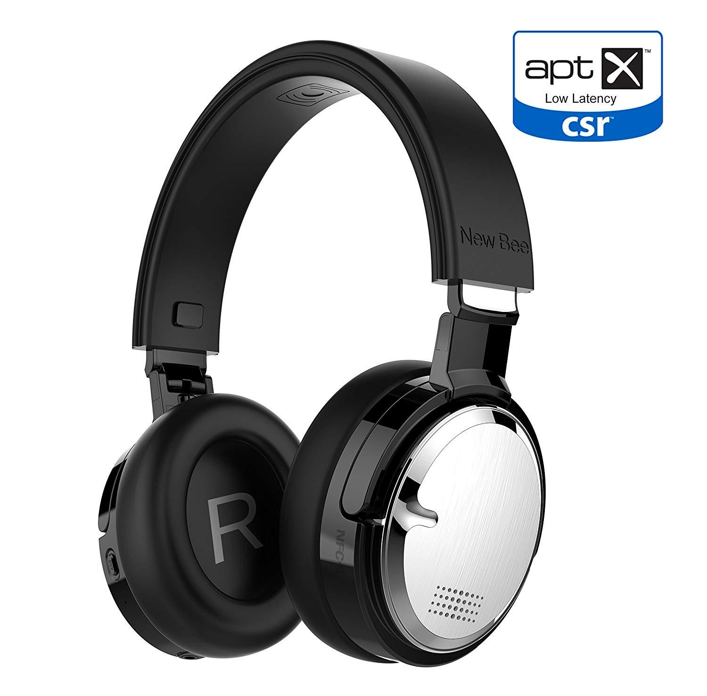 Active Noise Cancelling Kopfhörer Bluetooth Kabellos mit aptX Low Latency Mikrofon Tiefbass HiFi Stereo über Ohr 60H Spielzeit für Reisen/TV/Computer/iPhone(Schwarz)