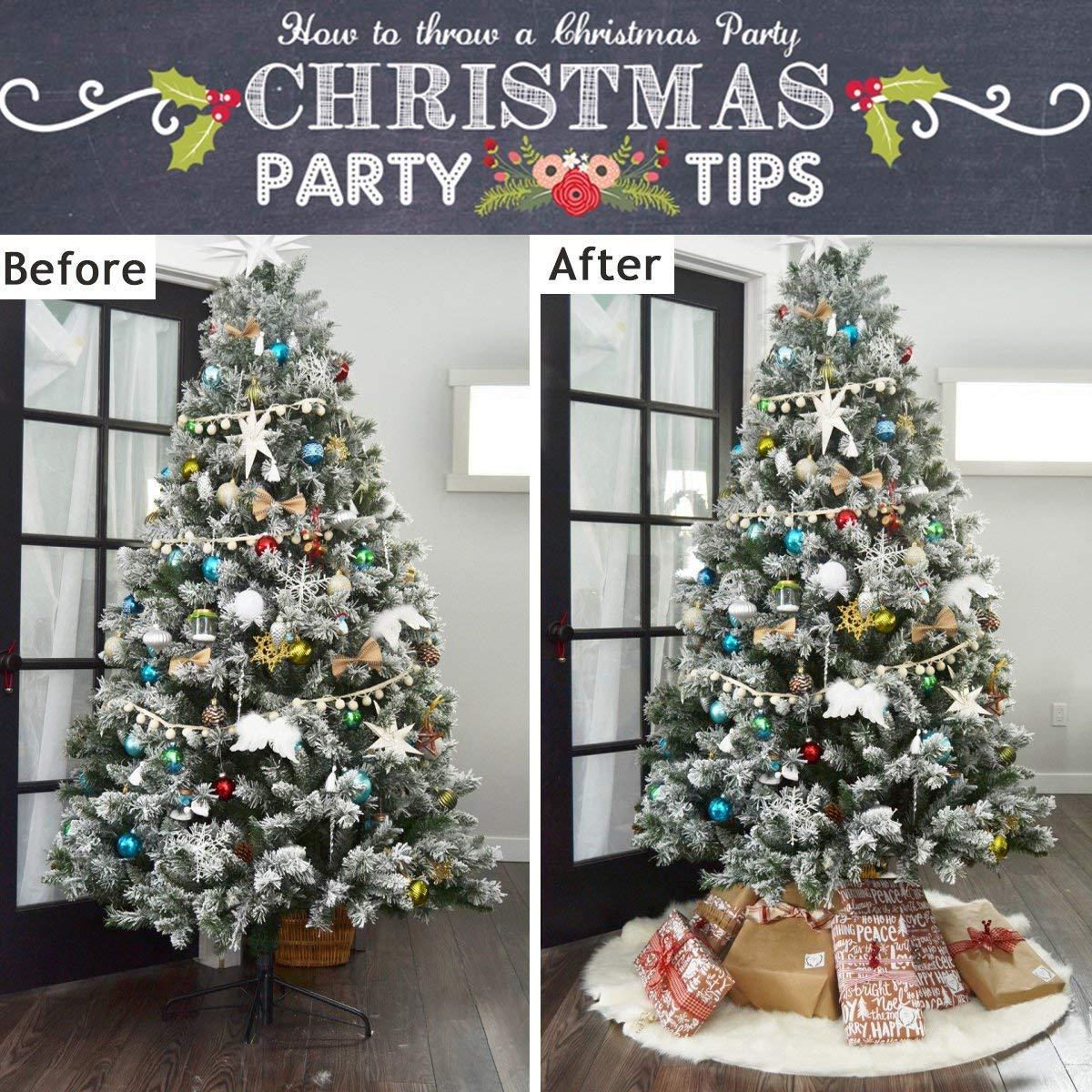 4 98 weihnachtsbaum rock reiner wei er faux pelz baum. Black Bedroom Furniture Sets. Home Design Ideas