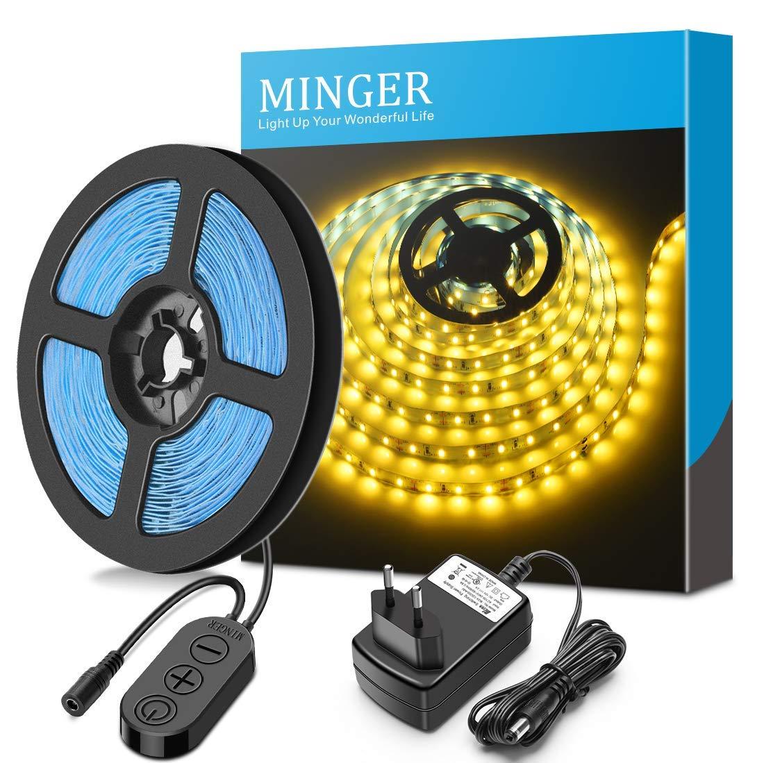 Minger 5m Dimmbar LED Strip, LED Streifen Kit, 3500K warmweiße