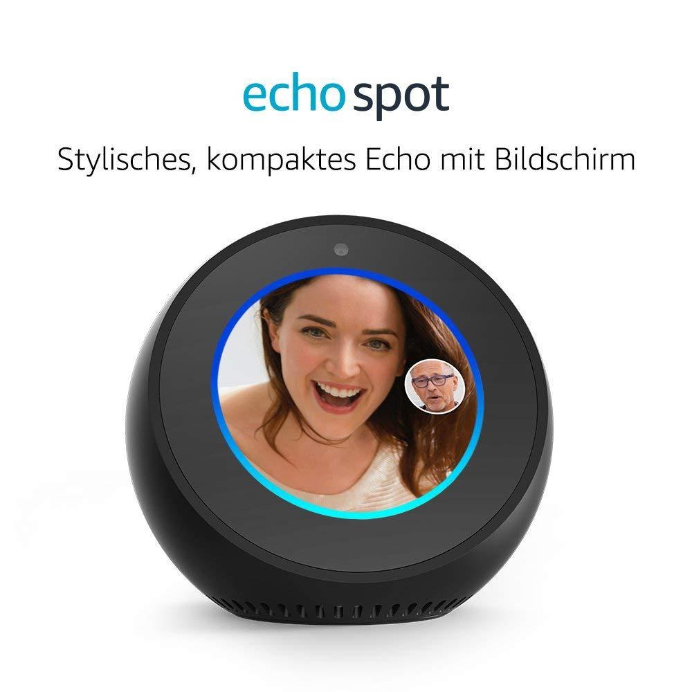 Amazon Echo Spot, Zertifiziert und generalüberholt, Schwarz für 89,99€