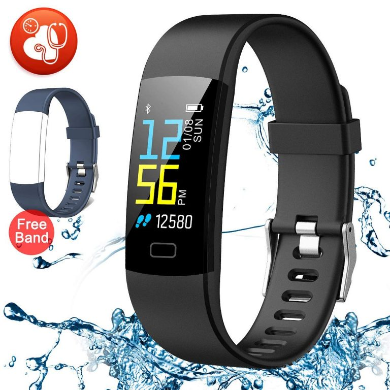 Fitness Armband mit Pulsmesser, Wasserdicht IP67 Fitness Tracker Farbdisplay Aktivitätstracker Armbanduhr
