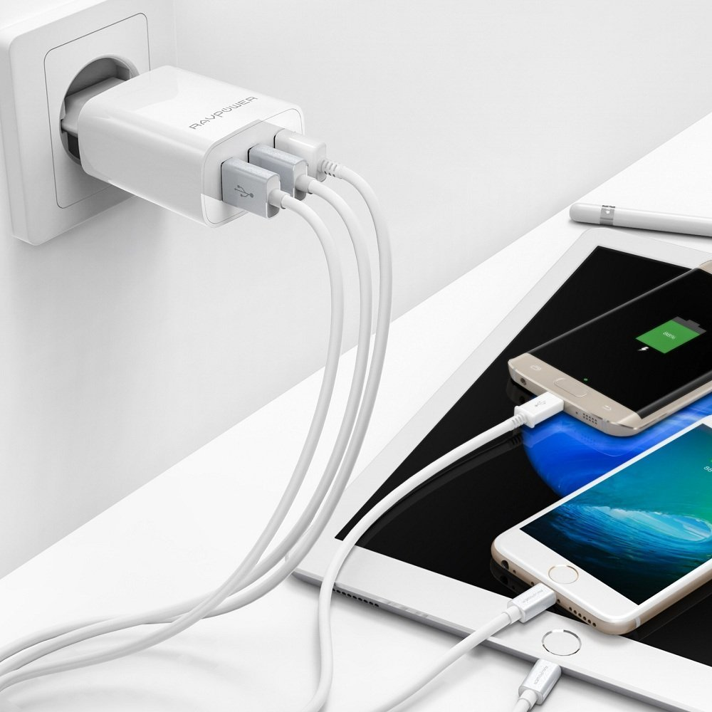 RAVPower USB Ladegerät 3-Port Ladeadapter mit iSmart Technologie