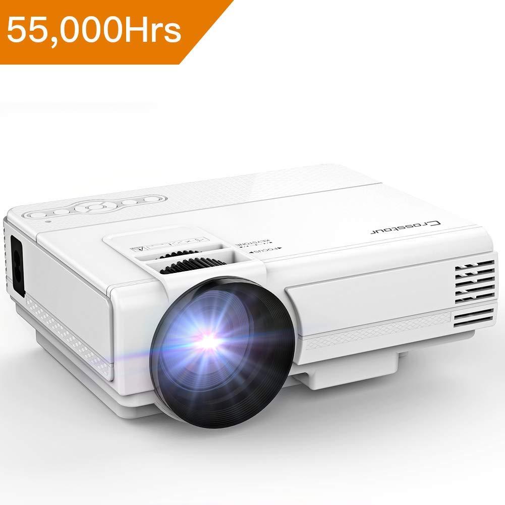 Crosstour Mini LED Tragbarer Beamer, Heimkino Videoprojektor Unterstützung 1080P 55.000 Stunden für 53,99€