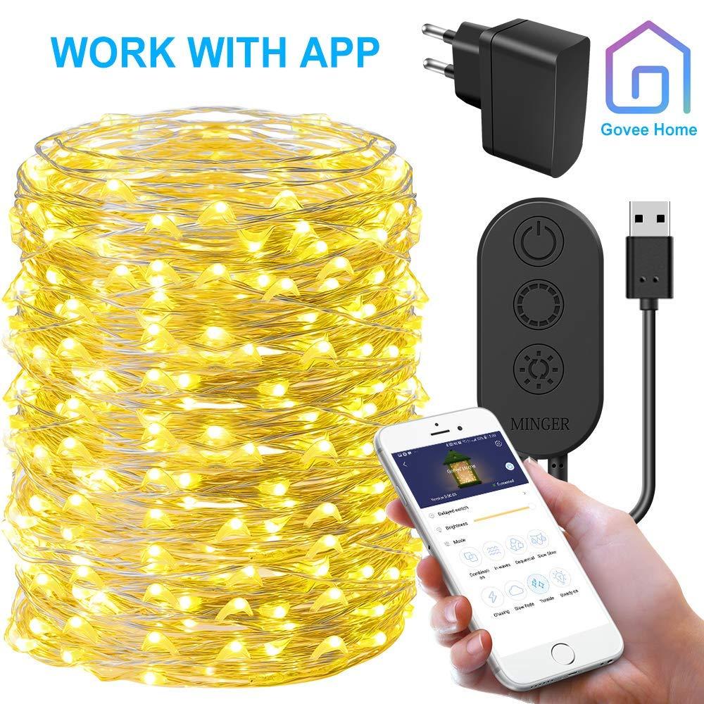 LED Lichterkette,Minger 200 leds 20M Drahlichterketten 8 Mod Wasserdicht Warmweiß APP gesteuert Innen und Außen