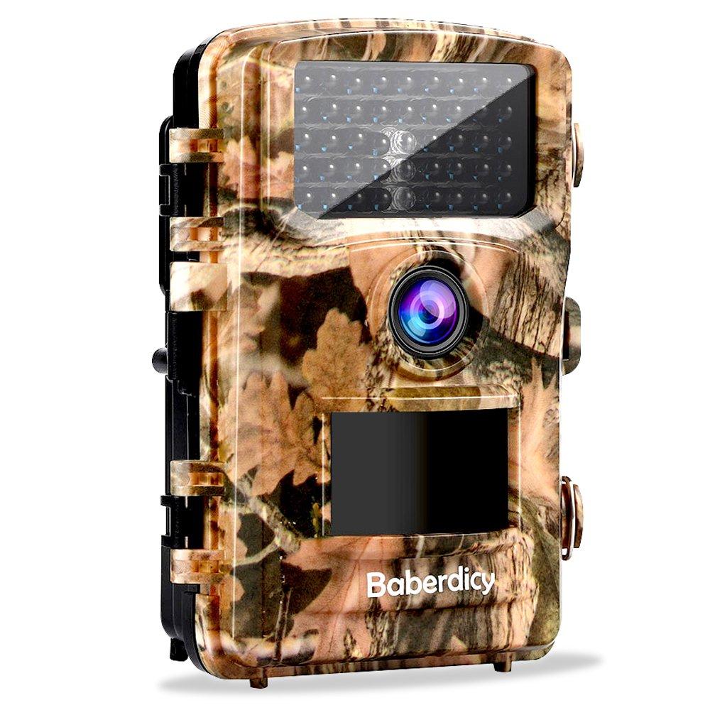 Baberdicy Wildkamera mit Bewegungsmelder Nachtsicht, 12MP 1080P Nachtsichtkamera Fotofalle mit 2.4″ LCD