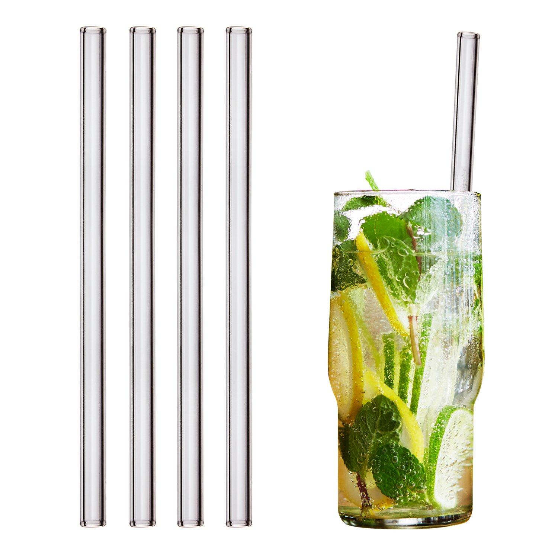 HALM Glas Strohhalme Wiederverwendbar Trinkhalm – 4 Stück gerade 20 cm + plastikfreie Reinigungsbürste