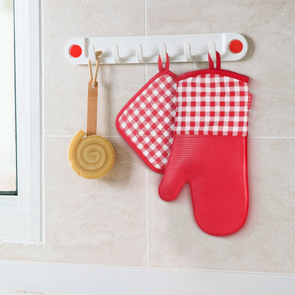 Heat Resistant Silicone Oven Gloves Non-Slip Oven Mitts + 2 Cotton Pot Holders voor Kitchen Cooking Baking Grilling Barbecue