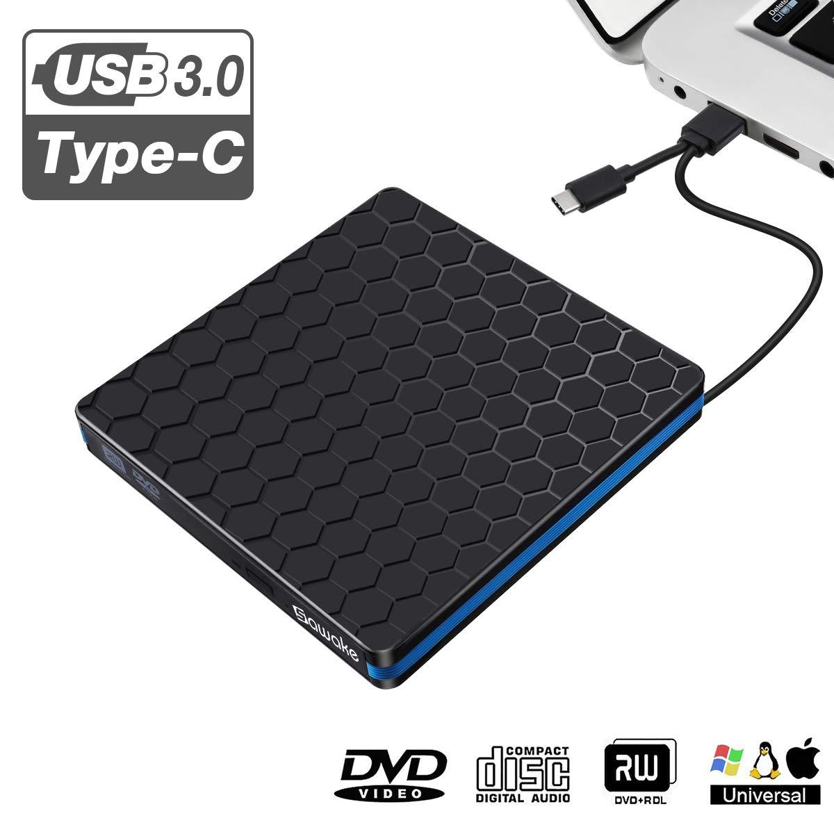Externes DVD CD Laufwerk 3.0 USB-A & USB-C, SAWAKE DVD Player PC für 12.99 €