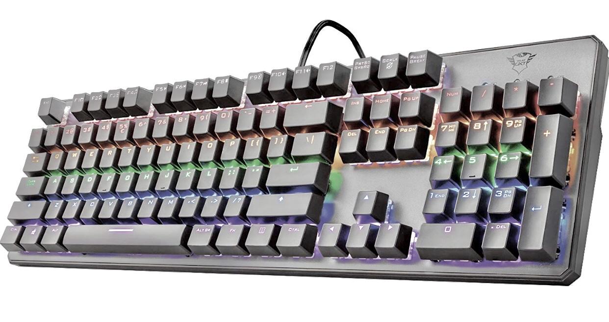 Trust GXT Mechanische LED Gaming Tastatur (Deutsches Qwertz Layout, Multi Color Beleuchtung, Anti-Ghosting) schwarz