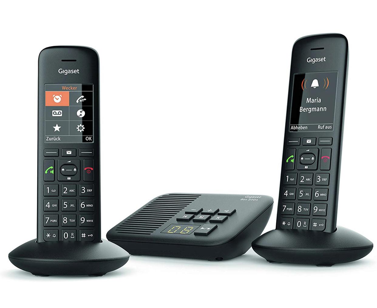 Gigaset C570A Duo Schnurlostelefon mit Anrufbeantworter (2 Mobilteile mit Farbdisplay und großen Tasten, Design Telefon, Freisprechen, Baby Phone, Analog Telefon) schwarz