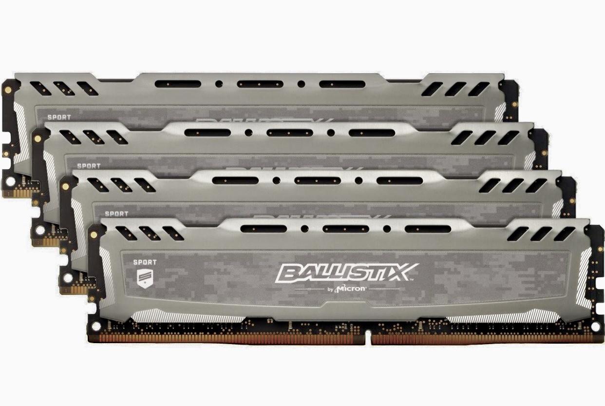 Ballistix Sport LT BLS4C8G4D240FSB 32GB (8GB x 4) Speicher Kit (DDR4, 2400 MT/s, PC4-19200, DRx8, DIMM, 288-Pin) grau