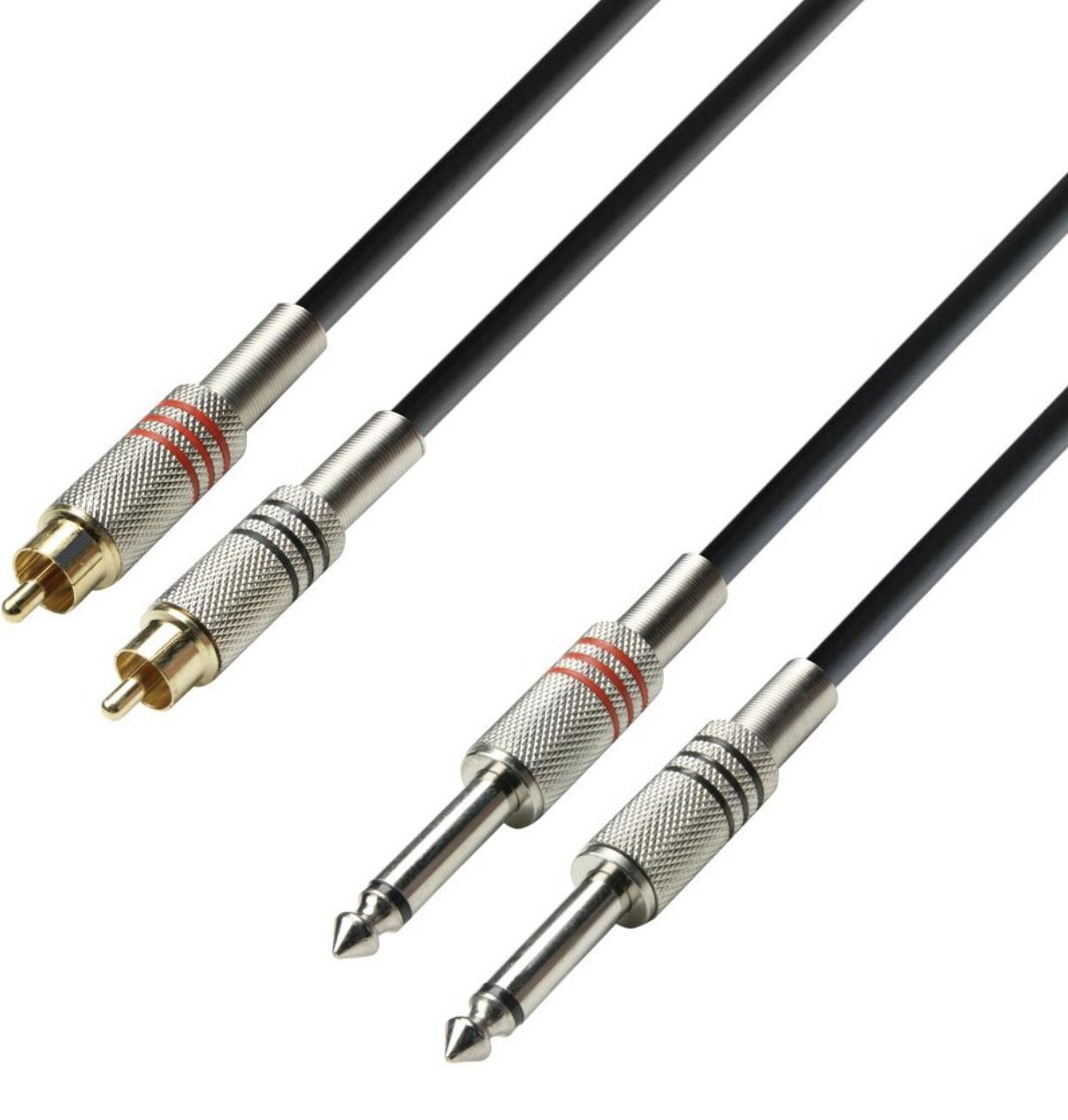 Adam Hall Cables K3TPC0300 Audiokabel 2 x Cinch male auf 2 x 6,3mm Klinke mono 3m