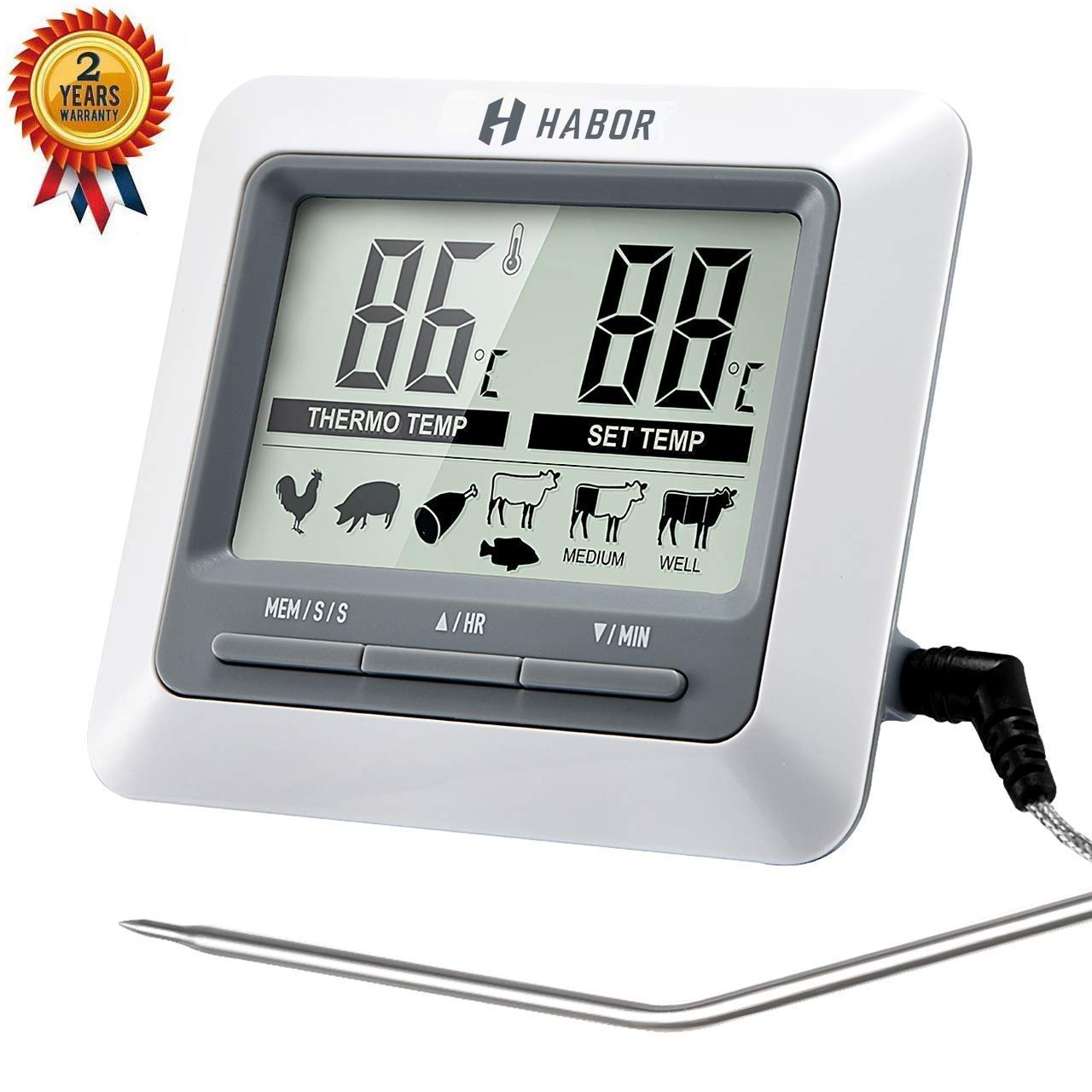 Habor Fleischthermometer Grillthermometer Ofenthermometer großen LCD Display