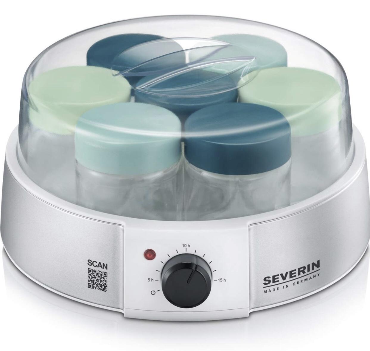 Severin JG 3525 Joghurtbereiter (13 Watt, 1 L, Anzeigelicht, Automatische Abschaltung) silber/metallic/weiß
