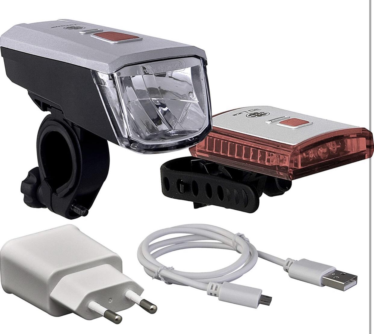 Büchel Batterieleuchtenset Vancouver mit Li-Ion Akku, 40 Lux, USB Ladegerät, StVZO Zugelassen, silber/schwarz, 51225460