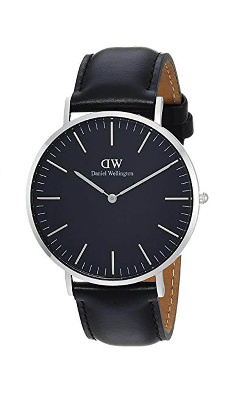 Daniel Wellington Herren Analog Quarz Uhr mit Leder Armband