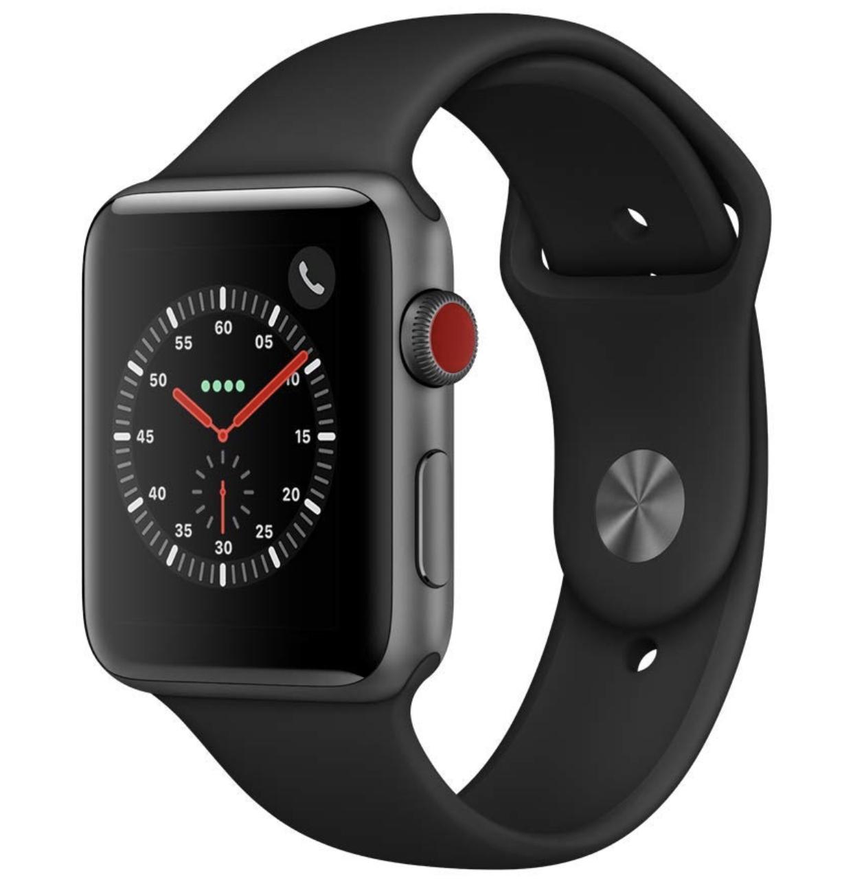 Apple Watch Series 3 (GPS + Cellular) 42 mm Aluminiumgehäuse, Space Grau, mit Sportarmband, Schwarz