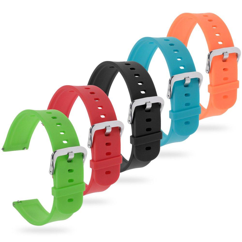 20mm Silikon Uhrenarmband Weich Uhrenarmband Kompatibel Huawei Watch Schwarz Grün Rot Orange Blaugrün