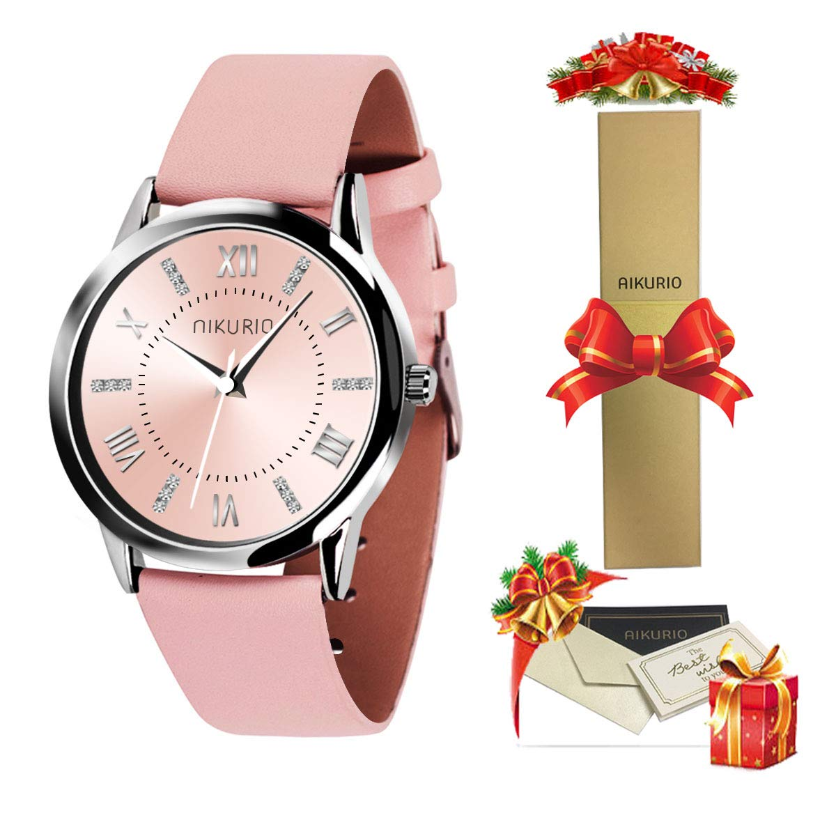 40% OFF AIKURIO Damen Armbanduhr Analog Quarz 30M Wasserdicht mit Lederband Crystal Dial