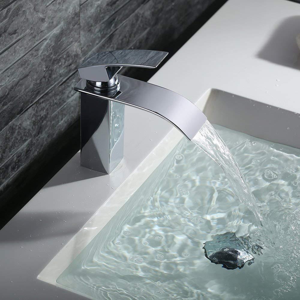 Homelody Wasserhahn Bad Armatur Wasserfall Einhebelmischer