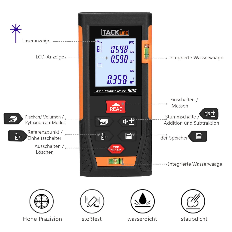 Tacklife HD 60 Klassischer Laser-Entfernungsmesser Distanzmessgerät