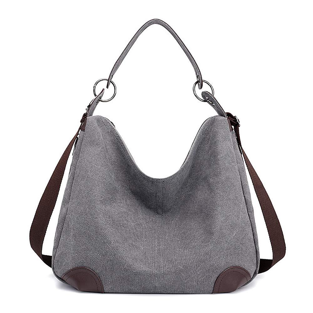 Huttoly Canvas Handtasche Damen Canvas Tasche Umhägetasche Schultertasche Crossbody Bag
