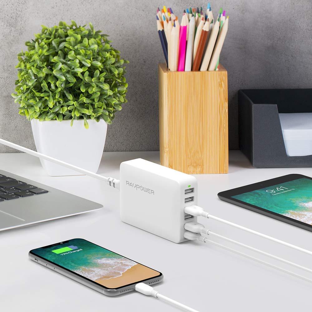RAVPower iSmart USB Ladegerät 6-Port 60W/12A USB Ladeadapter