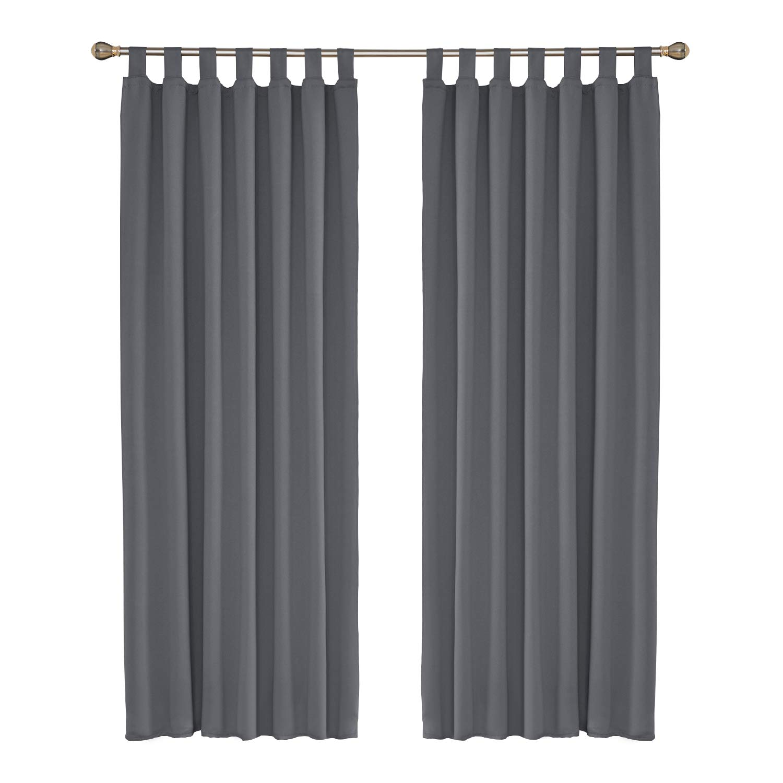 Umi. Essentials 2 Stück Verdunklungsvorhang Blcikdicht Gardinen Schlaufen Vorhang 245×140 cm Grau