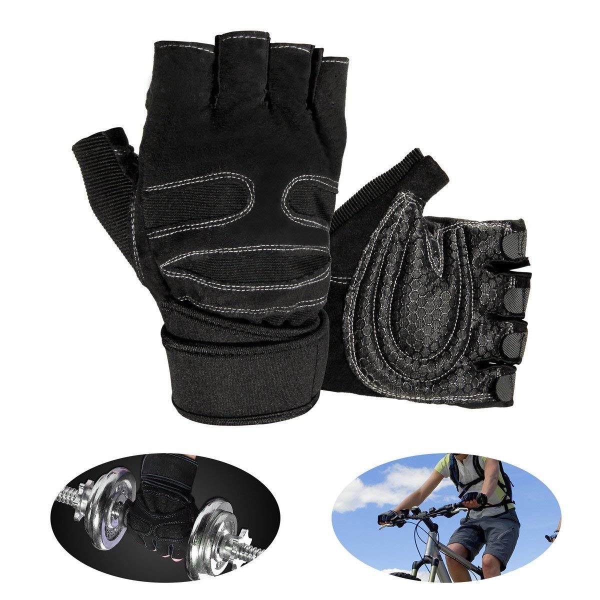 LEBEXY Fitness Training Handschuhe Fahrrad Grips mit Adjustable Handgelenkstütze