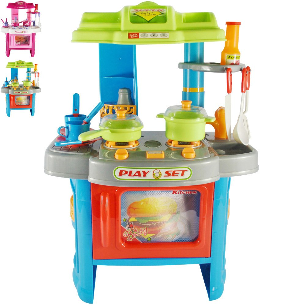 Kinderküche mit Licht- und Soundeffekten | B/H/T: ca. 42/60/27,5 cm, inkl. vielen Zubehör (Töpfe, Teller, Becher, Kochgeschirr etc.)