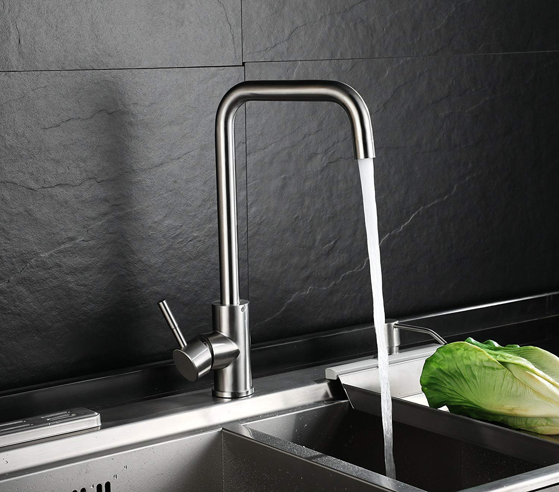 Homfa Wasserhahn 360° Drehbar Küche Einhebelmischer Spültisch Küchenarmatur