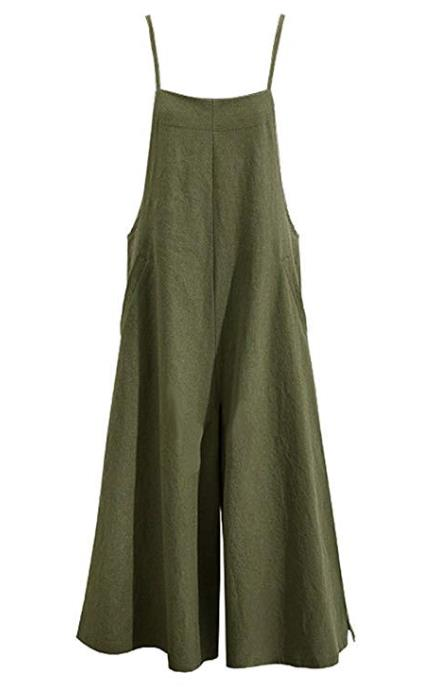 Romacci Damen Baumwolle Wide Leg Jumpsuit Spaghetti Strap Einfarbig Ärmellos Strappy Romper Länge Overalls
