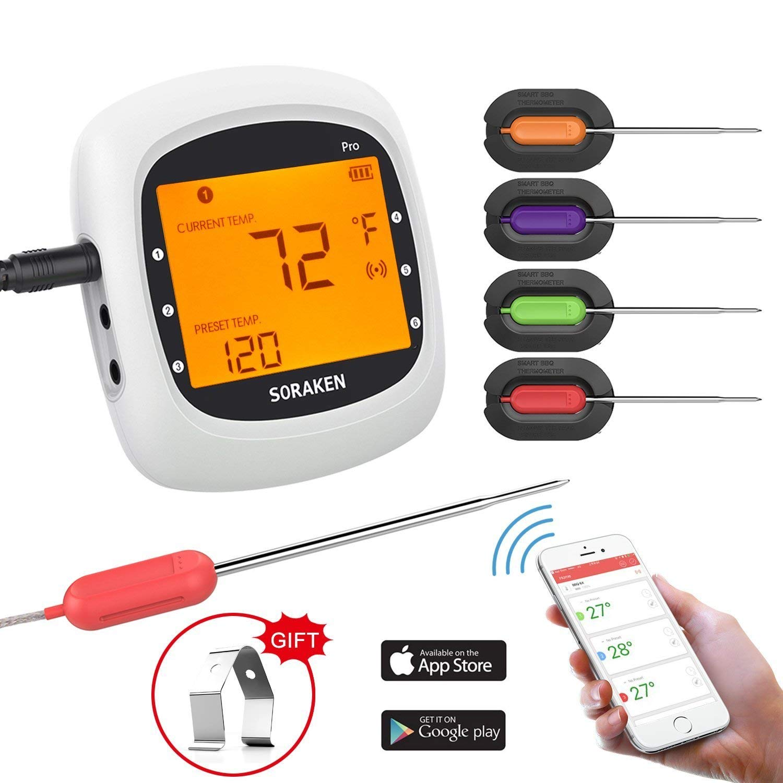 Grillthermometer Bluetooth, Digital Wireless BBQ Thermometer Grill mit 4 Sonden