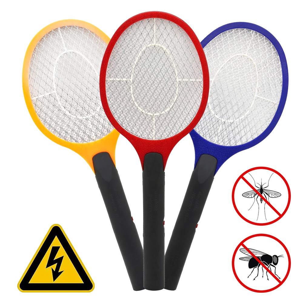 wolketon 3X Elektrische Fliegenklatsche doppeltes Schutzgitter Mücken Mückenklatsche