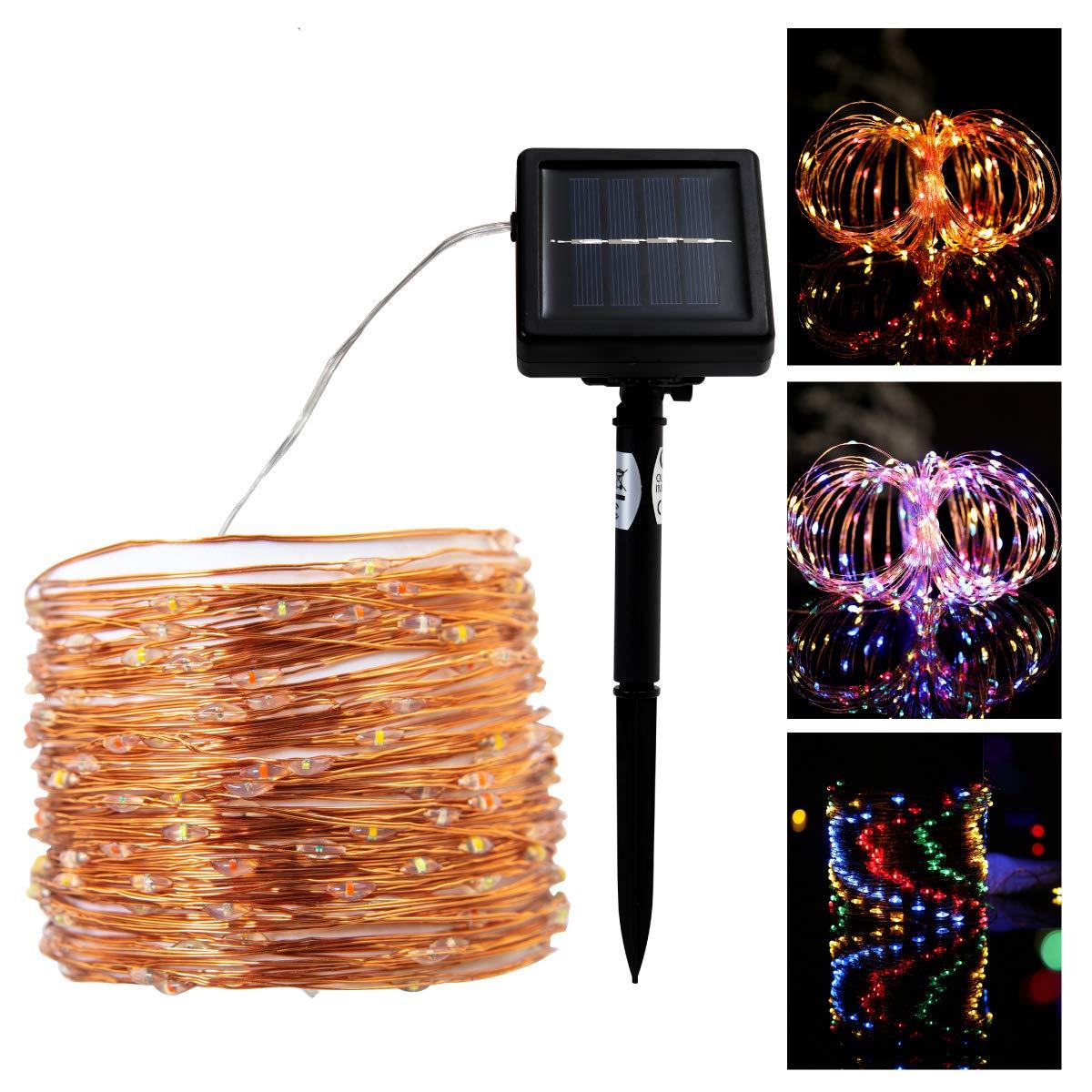 Solar LED Lichterkette 200 LEDs Deko Beleuchtung für Weihnachten, Party, Festen, 2 Leuchtmodi (RGB, 200 LEDs)