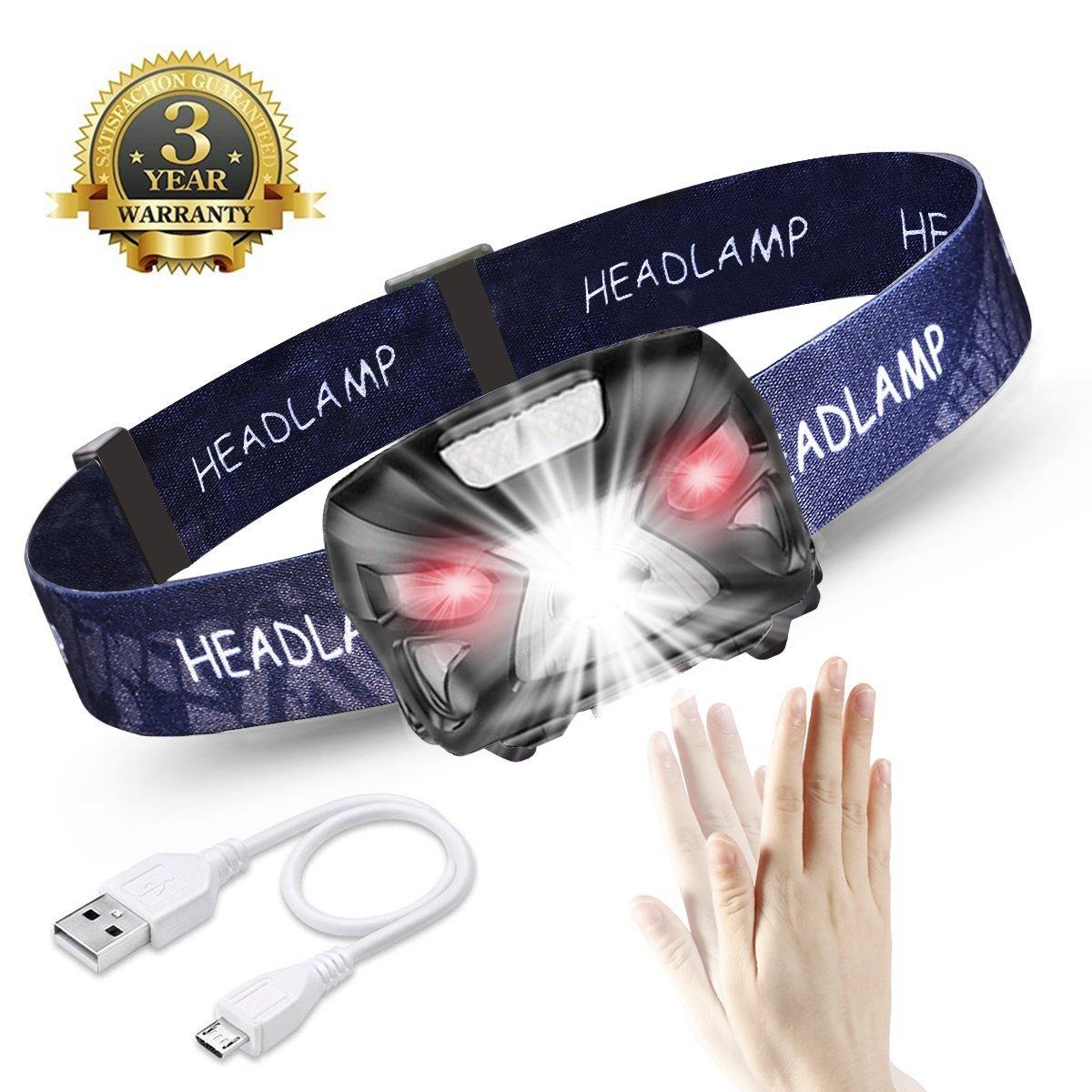 LED Stirnlampe Kopflampe, USB Wiederaufladbare Wasserdicht Kopflampe