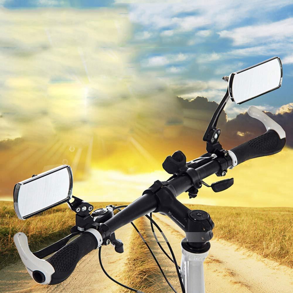 Powcan 1 Paar Einstellbare Dreh Flexibilität Fahrrad Lenker Rückspiegel Radfahren MTB Elektroautos Rechteck Reflektor Spiegel Rückansicht Weitwinkel Horizont Aluminiumlegierung für 22mm