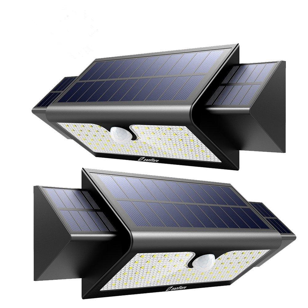 2 Stück Solarleuchte für Außen, 71 LED Solarlampe Superhelle 5200mAh Solarleuchte Garten