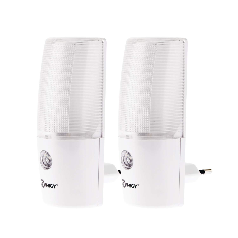 imiGY einsteckendes Nachtlicht mit Sensor, Schlaffreundliche Lichtsensor LED-Licht steckt in europäische Standard AC-Steckdosen, perfekt für Schlafzimmer, Treppen,Ecken indoor – 2 Stück
