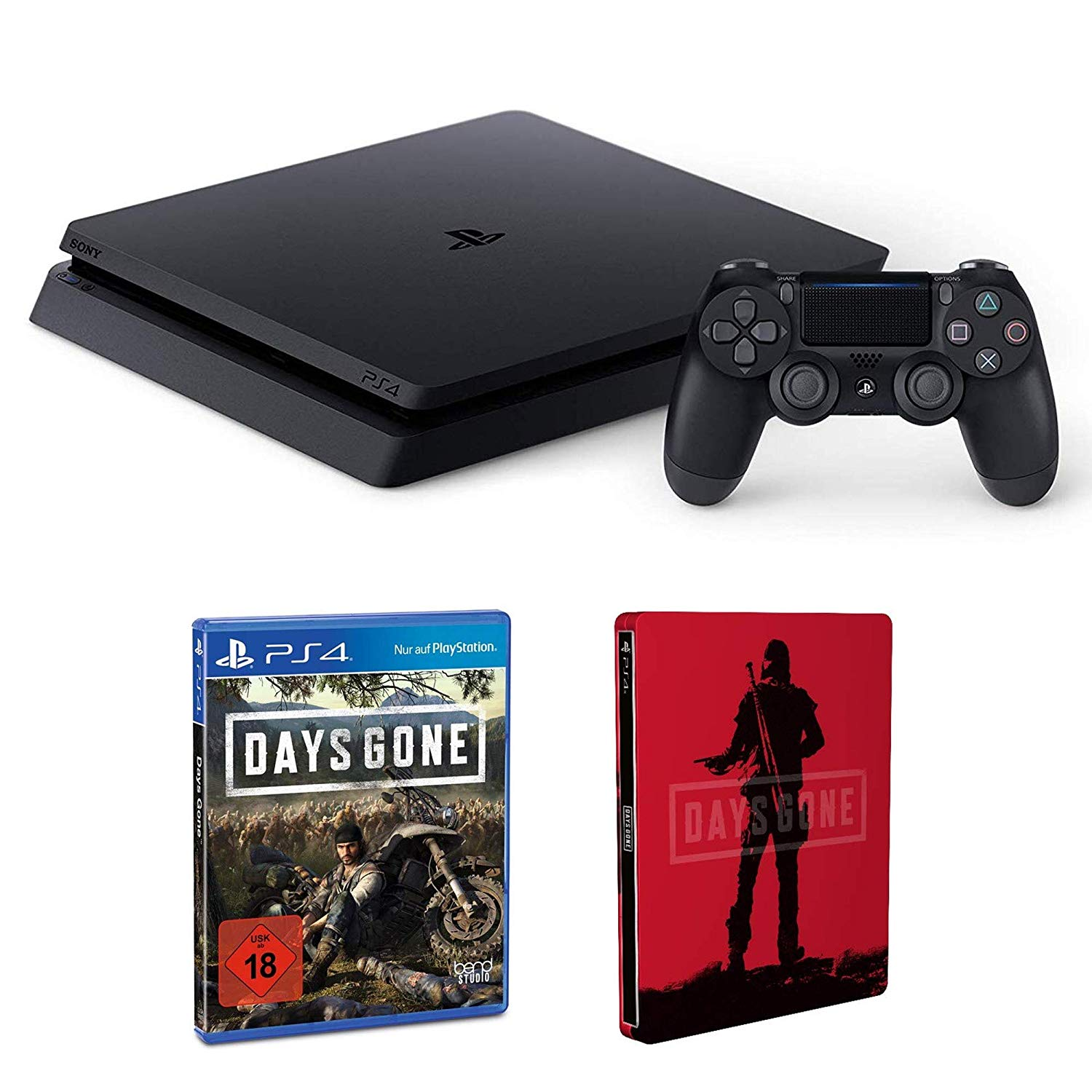 PlayStation 4 – Konsole (1TB, schwarz) + Days Gone – Standard Edition inkl. Steelbook (Amazon exclusive) – [PlayStation 4]
