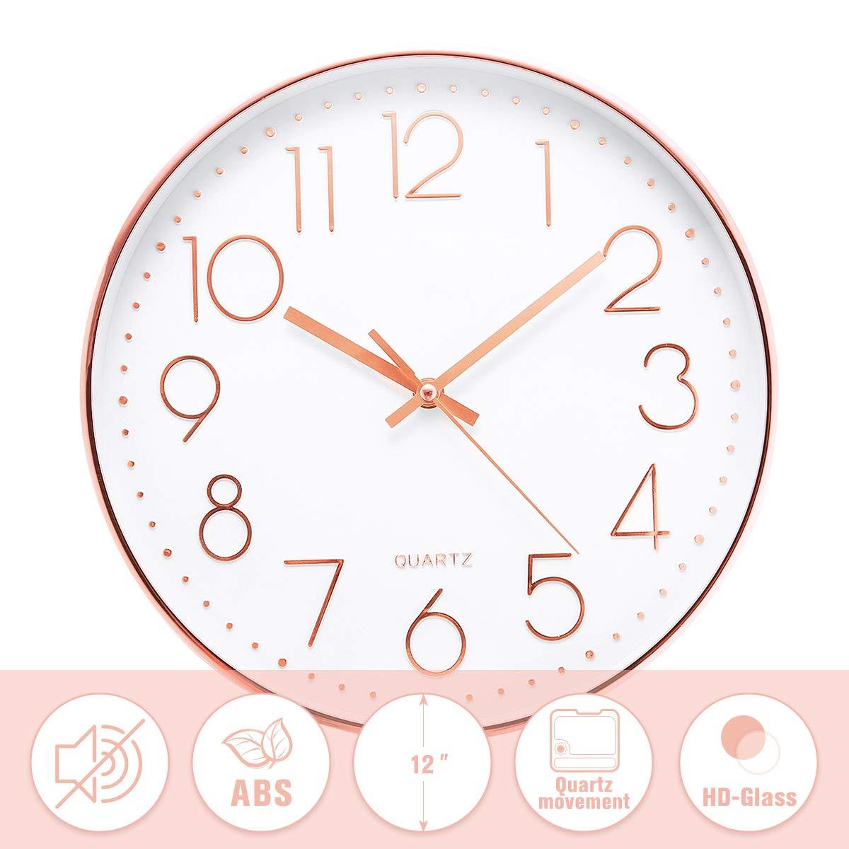 Jeteven® 30cm Rund Wanduhr Kinderuhr mit geräuscharmem Uhrwerk