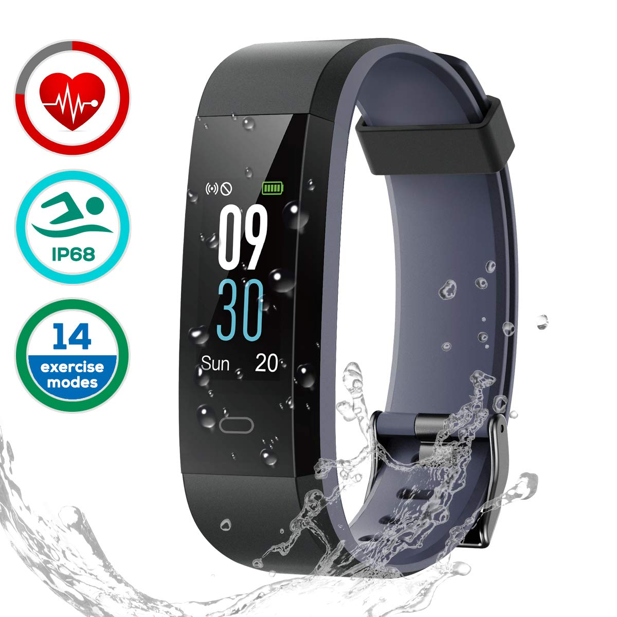 Fitness Armband Uhr mit Pulsmesser, LATEC Fitness Tracker Wasserdicht IP68