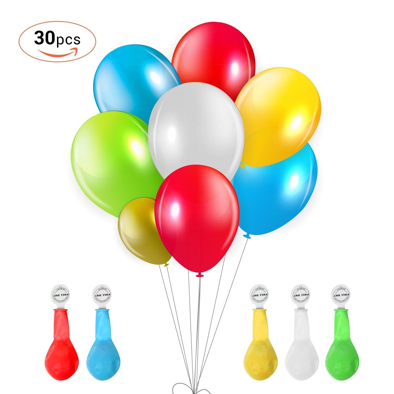 TURATA LED Luftballon 30 Stück leuchtende Ballons Blinkendes Licht Bunte schöne Ballons mit 5 Farbe für Weihnachten Party Geburtstag Fasching Valentinstag