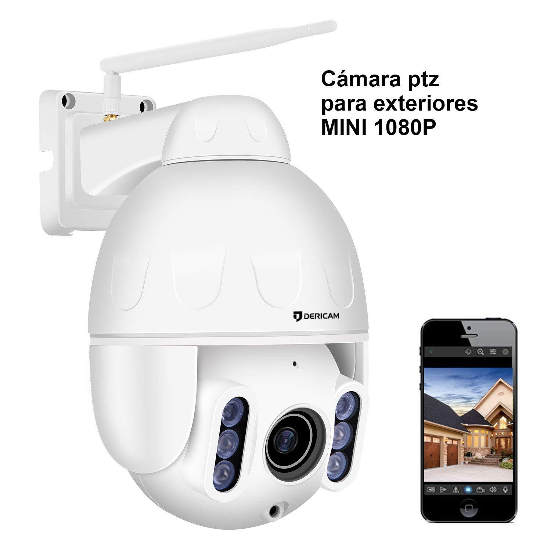 Dericam Mini 1080P Outdoor WiFi-Überwachungskamera, 4X Optische PTZ-Kamera, Autofokus, 30m Nachtsicht, 150° Betrachtungswinkel, Externer SD-Kartensteckplatz, Wetterfest IP65, S2C
