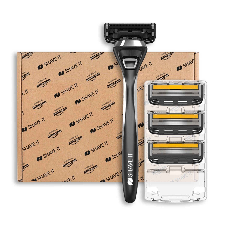 Shave It Pro, 5-Klingen-Rasierer mit Griff und 4 Klingenköpfen