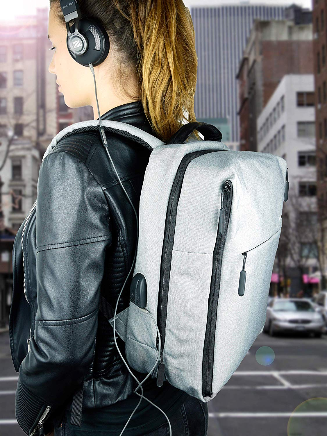 Style & Sons Protector Anti-Diebstahl Rucksack 15,6 Zoll mit USB Ladeanschluss Laptop Notebook Backpack