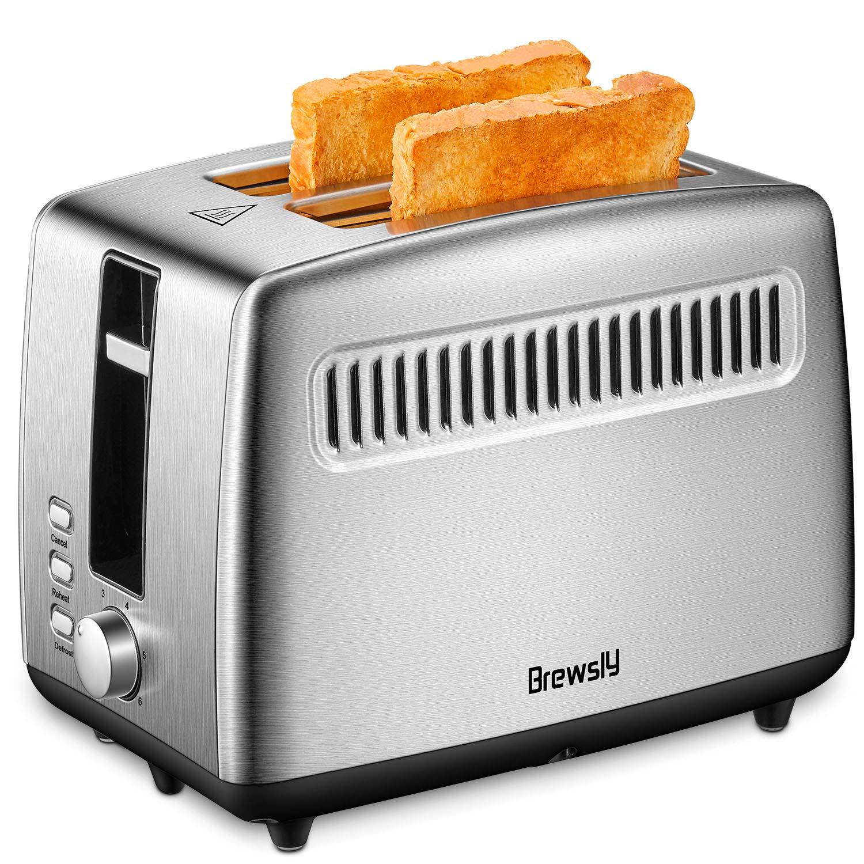Brewsly Edelstahl Toaster mit Bagelfunktion, und 6 Bräunungsstufen, Wärmeisolierendes Doppelwand Gehäuse, herausziehbare Krümelschublade