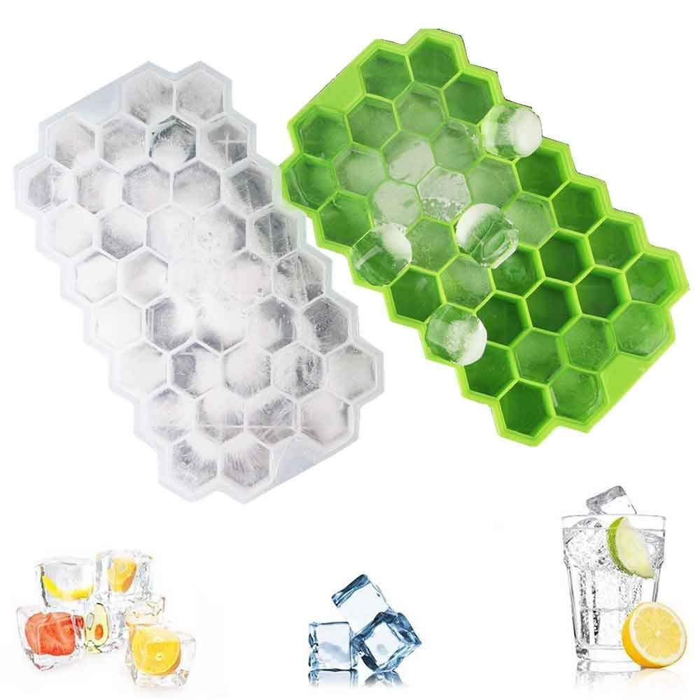 ONECE Silikon Eiswürfelformer,2 Stück Eiswürfelbehälter,37-Fach mit Deckel,Eiswürfel Eiswürfelbox,Grün und Weiss