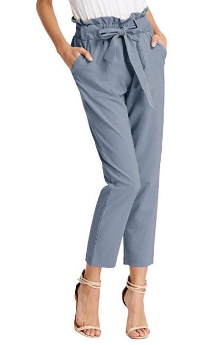 GRACE KARIN Damen Casual Streetwear Hosen Lang High Waist Beiläufige Hose mit Tunnelzug CL1011
